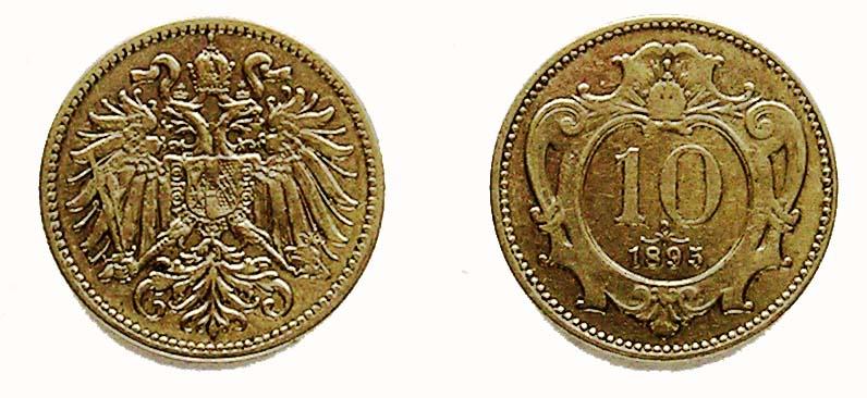 Австрия 10 геллеров 1893