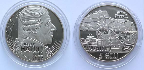 Австрия 5 экю 1998 Гайдн