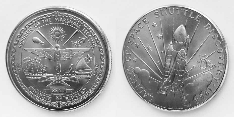Маршаллы 5 долларов 1988 Дискавери