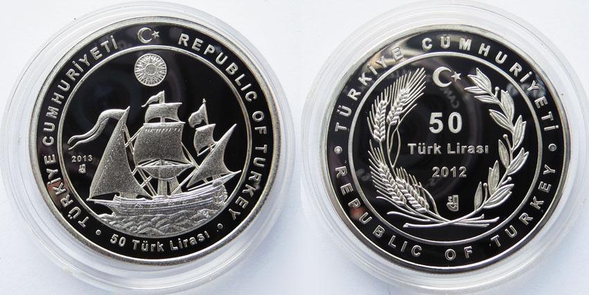 Турция 50 лир 2012 парусник