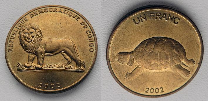 Конго 1 франк 2002