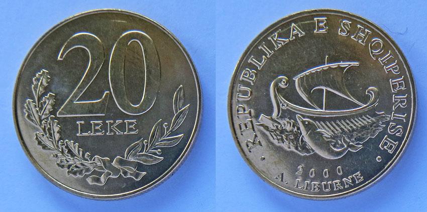 Албания 20 лек парусник