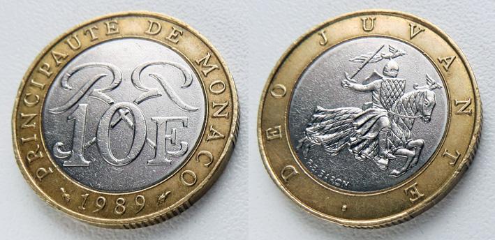 Монако 10 франков 1989