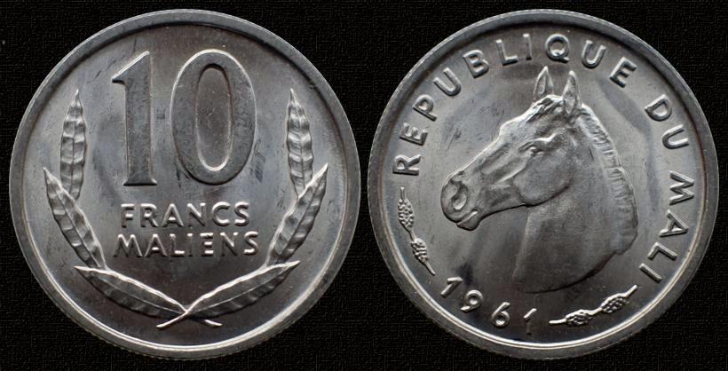 Мали 10 франков 1961 лошадь