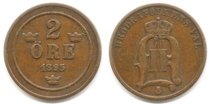 Швеция 2 эре 1895