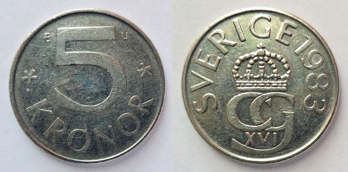 Швеция 5 крон 1983
