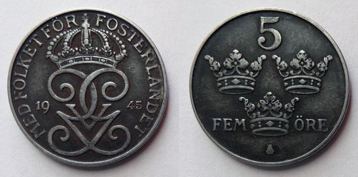 Швеция 5 эре 1945