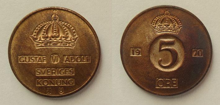 Швеция 5 эре 1970