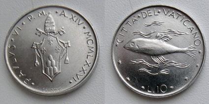Ватикан 10 лир рыба